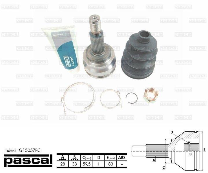 Przegub napędowy zewnętrzny PASCAL G15057PC - darmowa dostawa do 5000 warsztatów Motointegrator Partner i 170 sklepów Inter Cars