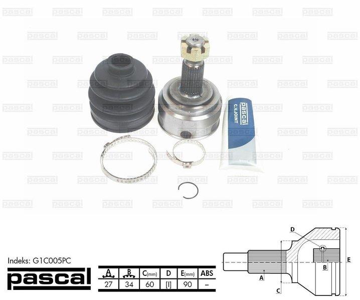 Przegub napędowy zewnętrzny PASCAL G1C005PC - darmowa dostawa do 5000 warsztatów Motointegrator Partner i 170 sklepów Inter Cars