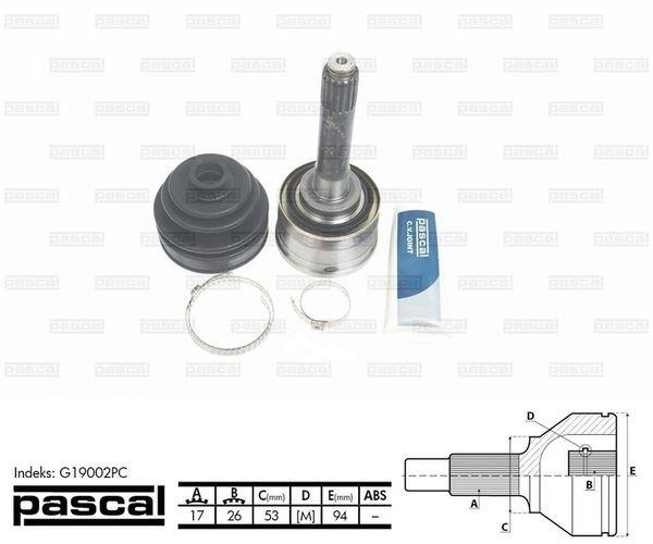 Przegub napędowy zewnętrzny PASCAL G19002PC - darmowa dostawa do 5000 warsztatów Motointegrator Partner i 170 sklepów Inter Cars