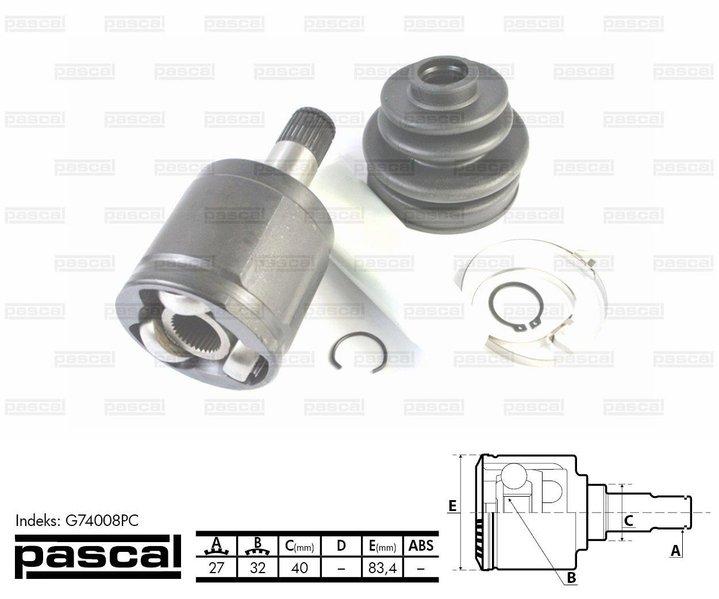 Przegub napędowy zewnętrzny PASCAL G74008PC - darmowa dostawa do 5000 warsztatów Motointegrator Partner i 170 sklepów Inter Cars