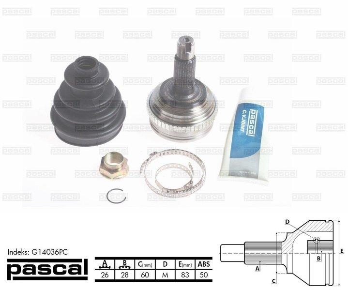 Przegub napędowy zewnętrzny PASCAL G14036PC - darmowa dostawa do 5000 warsztatów Motointegrator Partner i 170 sklepów Inter Cars