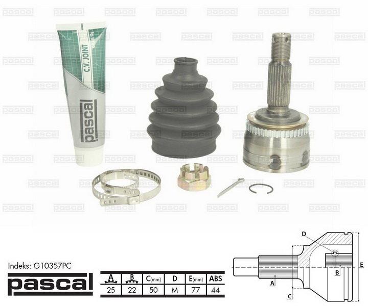 Przegub napędowy zewnętrzny PASCAL G10357PC - darmowa dostawa do 5000 warsztatów Motointegrator Partner i 170 sklepów Inter Cars