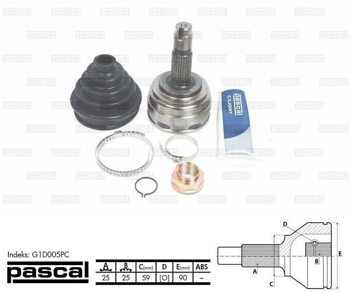 Przegub napędowy zewnętrzny PASCAL G1D005PC - darmowa dostawa do 5000 warsztatów Motointegrator Partner i 170 sklepów Inter Cars