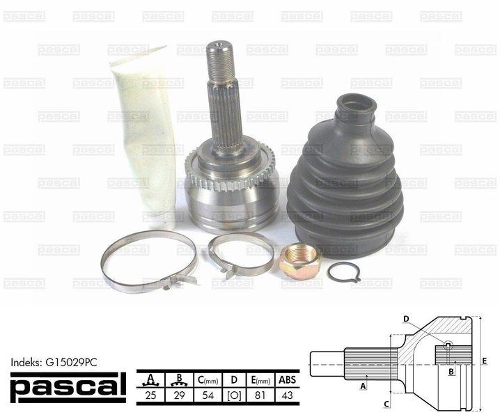 Przegub napędowy zewnętrzny PASCAL G15029PC - darmowa dostawa do 5000 warsztatów Motointegrator Partner i 170 sklepów Inter Cars