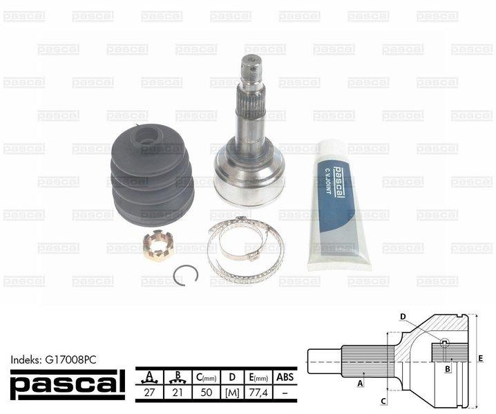 Przegub napędowy zewnętrzny PASCAL G17008PC - darmowa dostawa do 5000 warsztatów Motointegrator Partner i 170 sklepów Inter Cars