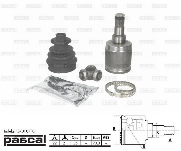 Przegub napędowy wewnętrzny PASCAL G78007PC - darmowa dostawa do 5000 warsztatów Motointegrator Partner i 170 sklepów Inter Cars