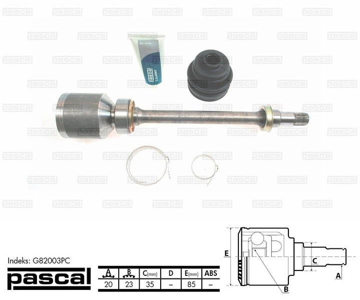 Przegub napędowy wewnętrzny PASCAL G82003PC - darmowa dostawa do 5000 warsztatów Motointegrator Partner i 170 sklepów Inter Cars