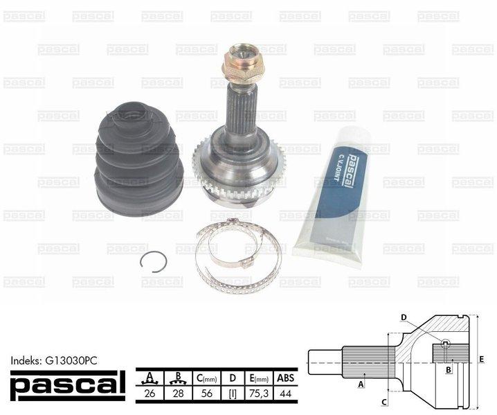 Przegub napędowy zewnętrzny PASCAL G13030PC - darmowa dostawa do 5000 warsztatów Motointegrator Partner i 170 sklepów Inter Cars