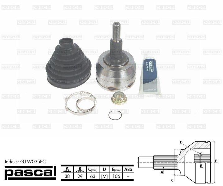 Przegub napędowy zewnętrzny PASCAL G1W035PC - darmowa dostawa do 5000 warsztatów Motointegrator Partner i 170 sklepów Inter Cars