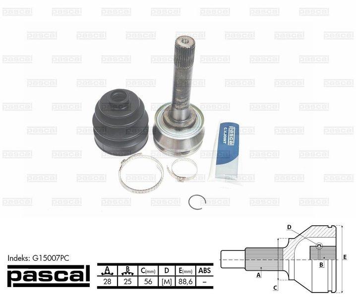 Przegub napędowy zewnętrzny PASCAL G15007PC - darmowa dostawa do 5000 warsztatów Motointegrator Partner i 170 sklepów Inter Cars