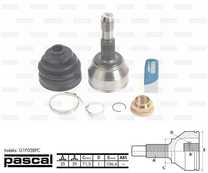 Przegub napędowy zewnętrzny PASCAL G1F058PC - darmowa dostawa do 5000 warsztatów Motointegrator Partner i 170 sklepów Inter Cars