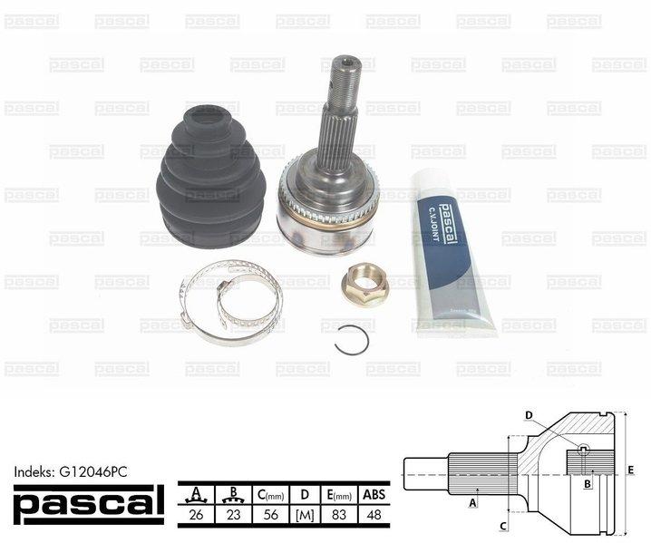 Przegub napędowy zewnętrzny PASCAL G12046PC - darmowa dostawa do 5000 warsztatów Motointegrator Partner i 170 sklepów Inter Cars