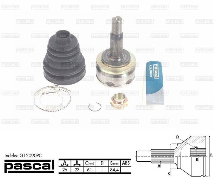 Przegub napędowy zewnętrzny PASCAL G12090PC - darmowa dostawa do 5000 warsztatów Motointegrator Partner i 170 sklepów Inter Cars