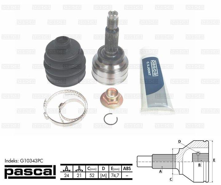 Przegub napędowy zewnętrzny PASCAL G10343PC - darmowa dostawa do 5000 warsztatów Motointegrator Partner i 170 sklepów Inter Cars