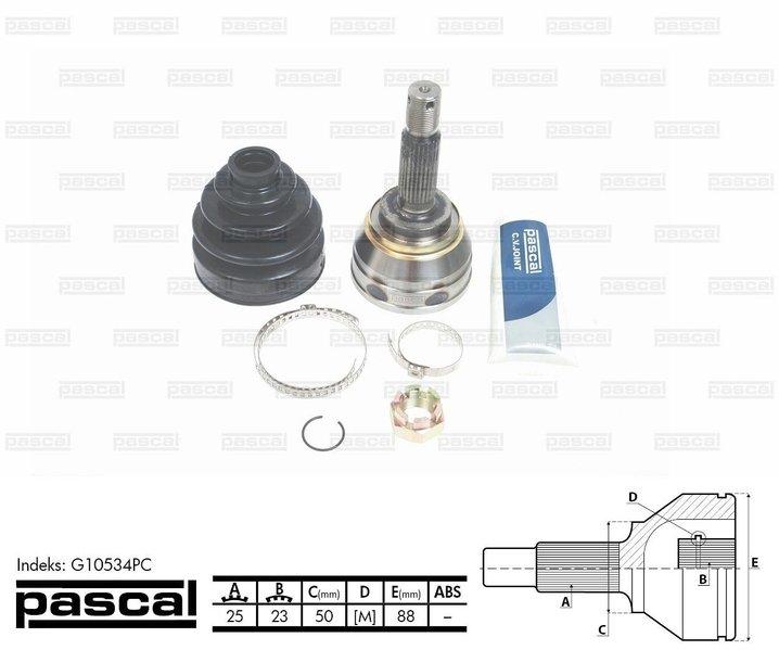 Przegub napędowy zewnętrzny PASCAL G10534PC - darmowa dostawa do 5000 warsztatów Motointegrator Partner i 170 sklepów Inter Cars