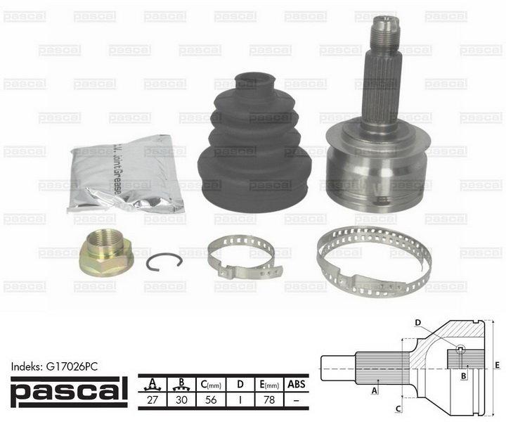 Przegub napędowy zewnętrzny PASCAL G17026PC - darmowa dostawa do 5000 warsztatów Motointegrator Partner i 170 sklepów Inter Cars