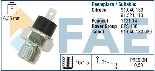 Czujnik ciśnienia oleju FAE 11270