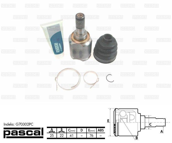 Przegub napędowy wewnętrzny PASCAL G70302PC - darmowa dostawa do 5000 warsztatów Motointegrator Partner i 170 sklepów Inter Cars