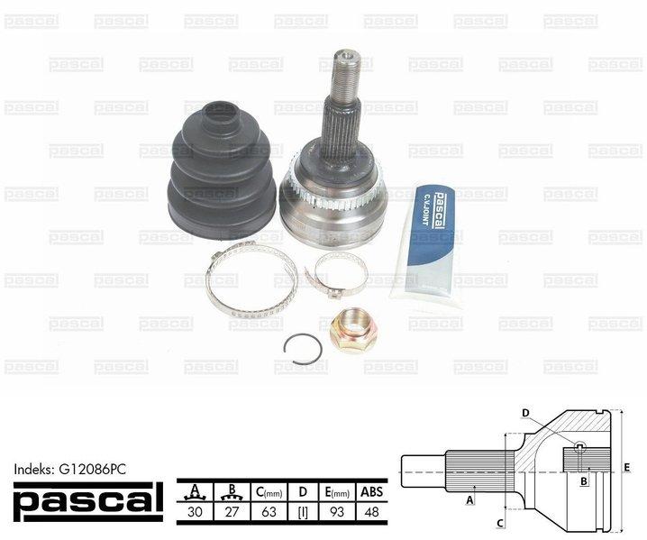 Przegub napędowy zewnętrzny PASCAL G12086PC - darmowa dostawa do 5000 warsztatów Motointegrator Partner i 170 sklepów Inter Cars