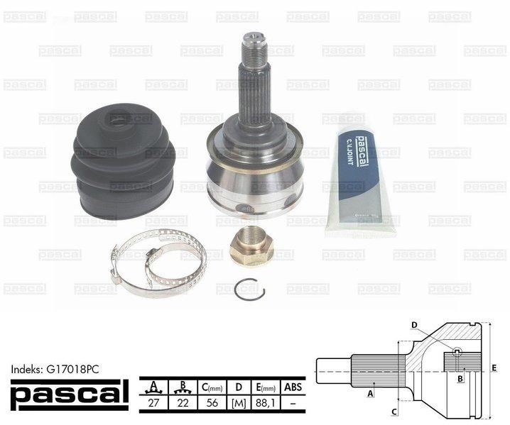 Przegub napędowy zewnętrzny PASCAL G17018PC - darmowa dostawa do 5000 warsztatów Motointegrator Partner i 170 sklepów Inter Cars