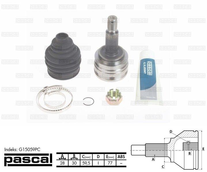 Przegub napędowy zewnętrzny PASCAL G15059PC - darmowa dostawa do 5000 warsztatów Motointegrator Partner i 170 sklepów Inter Cars