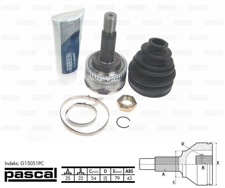 Przegub napędowy zewnętrzny PASCAL G15051PC - darmowa dostawa do 5000 warsztatów Motointegrator Partner i 170 sklepów Inter Cars