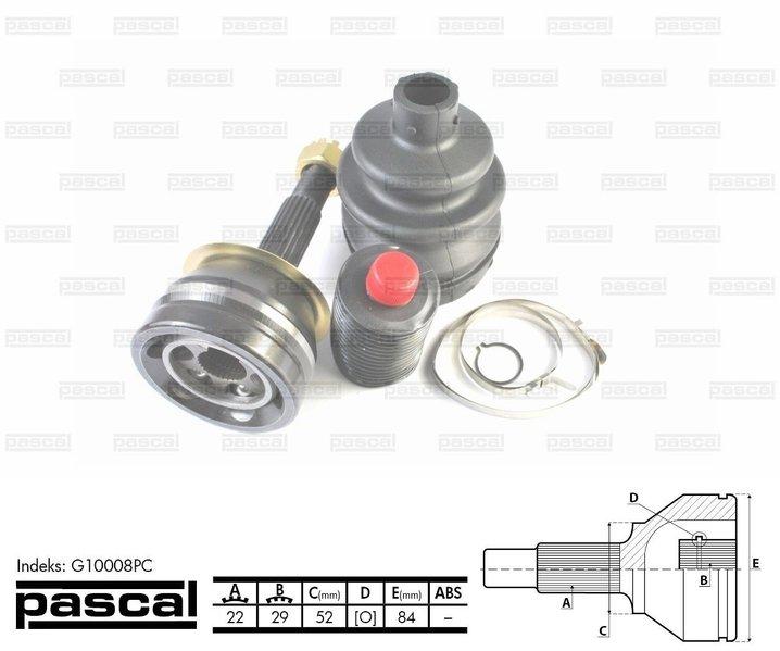 Przegub napędowy zewnętrzny PASCAL G10008PC - darmowa dostawa do 5000 warsztatów Motointegrator Partner i 170 sklepów Inter Cars