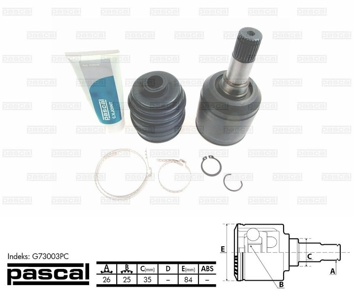 Przegub napędowy zewnętrzny PASCAL G73003PC - darmowa dostawa do 5000 warsztatów Motointegrator Partner i 170 sklepów Inter Cars