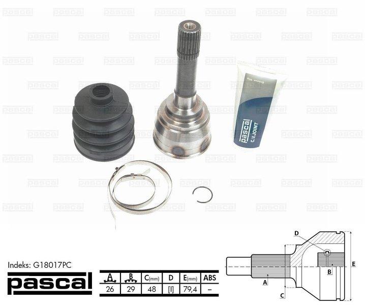 Przegub napędowy zewnętrzny PASCAL G18017PC - darmowa dostawa do 5000 warsztatów Motointegrator Partner i 170 sklepów Inter Cars