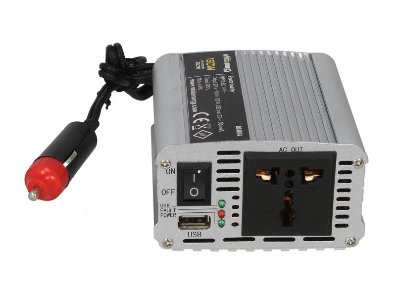 Przetwornica samochodowa WHITENERGY 12/230 V, 150 W + USB