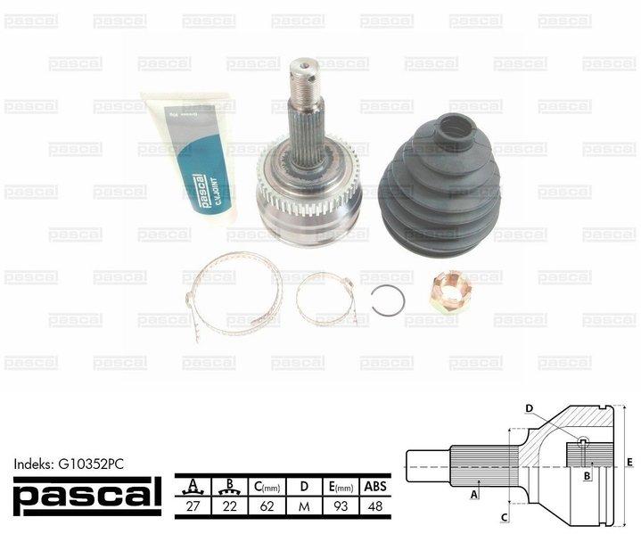Przegub napędowy zewnętrzny PASCAL G10352PC - darmowa dostawa do 5000 warsztatów Motointegrator Partner i 170 sklepów Inter Cars