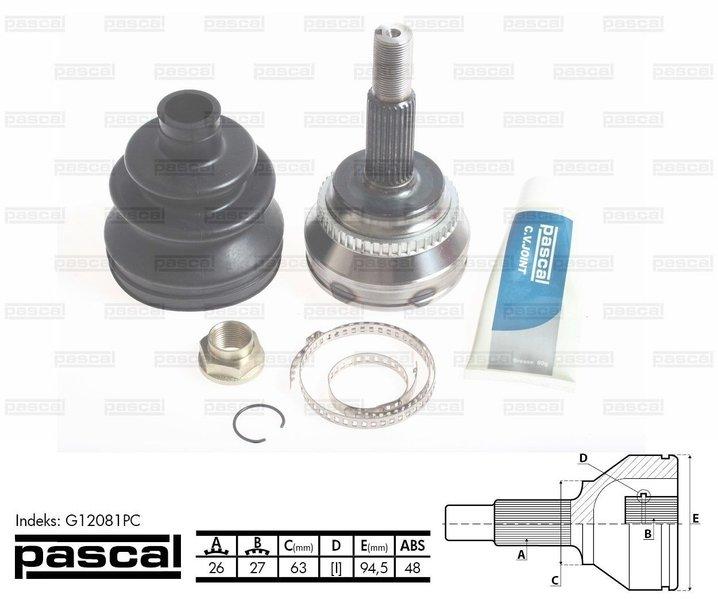 Przegub napędowy zewnętrzny PASCAL G12081PC - darmowa dostawa do 5000 warsztatów Motointegrator Partner i 170 sklepów Inter Cars