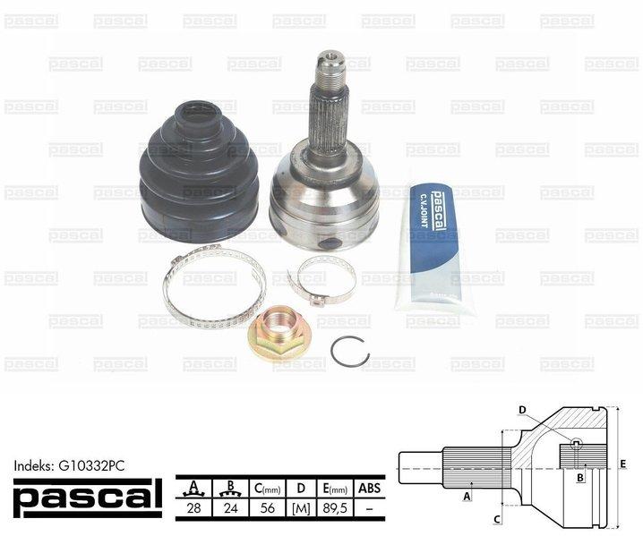 Przegub napędowy zewnętrzny PASCAL G10332PC - darmowa dostawa do 5000 warsztatów Motointegrator Partner i 170 sklepów Inter Cars
