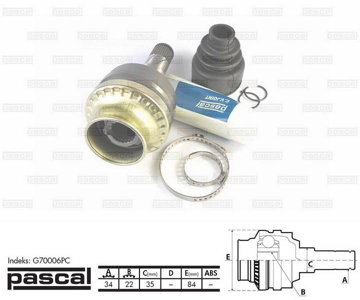 Przegub napędowy wewnętrzny PASCAL G70006PC - darmowa dostawa do 5000 warsztatów Motointegrator Partner i 170 sklepów Inter Cars