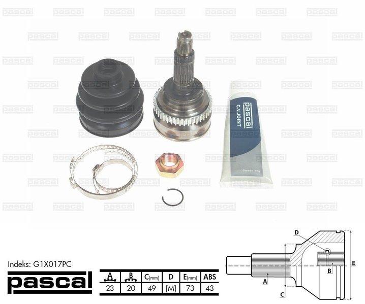 Przegub napędowy zewnętrzny PASCAL G1X017PC - darmowa dostawa do 5000 warsztatów Motointegrator Partner i 170 sklepów Inter Cars