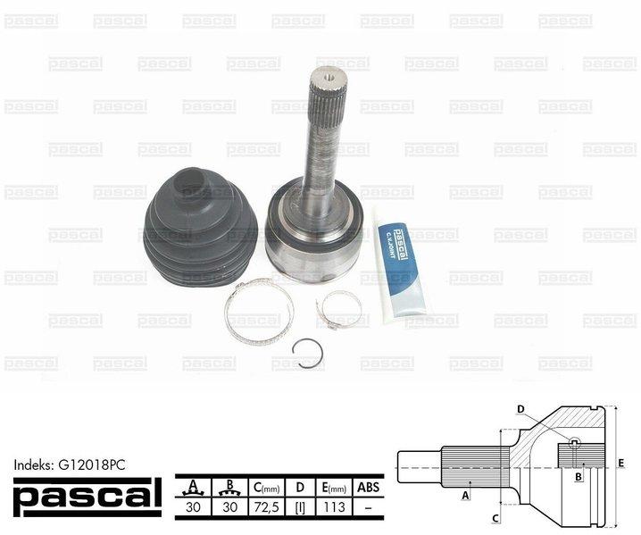 Przegub napędowy zewnętrzny PASCAL G12018PC - darmowa dostawa do 5000 warsztatów Motointegrator Partner i 170 sklepów Inter Cars